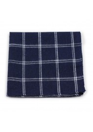 pocket square in cotton with navy plaid check