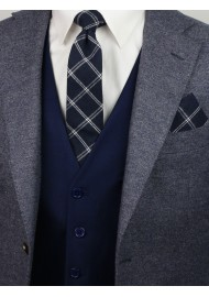 navy skinny plaid tie in cotton
