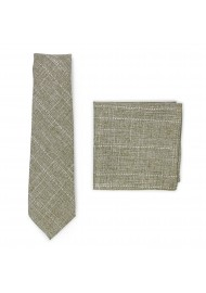 moss green summer tie in cotton with hanky