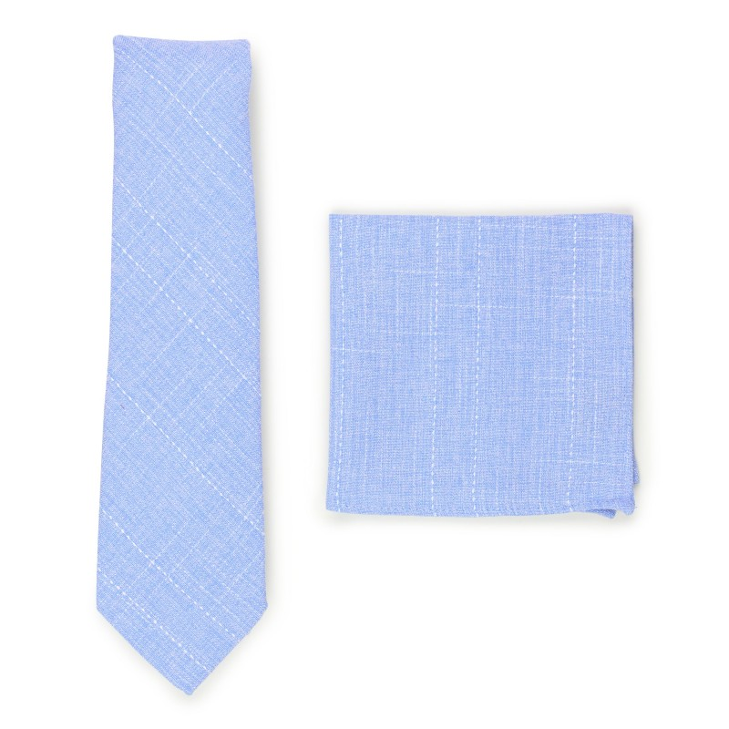sky blue skinny cotton tie and pocket square