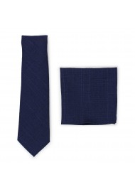skinny cotton tie set in dark navy blue