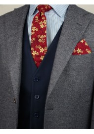 Japanese cotton print skinny tie in red and gold flowers