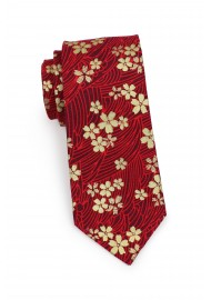 trendy skinny tie with Japanese flowers