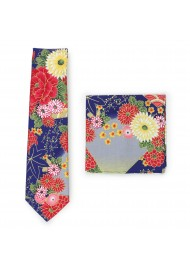 Colorful floral summer cotton tie in modern slim cut width
