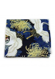 vintage pocket square with Japanese cranes