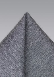 Charcoal Woven Wool Pocket Square
