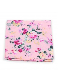 pocket square in pink with floral print