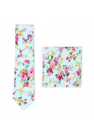 aqua and pink floral skinny cotton tie set