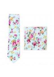 aqua and pink floral skinny cotton tie set