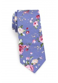 cotton tie in french blue and pink