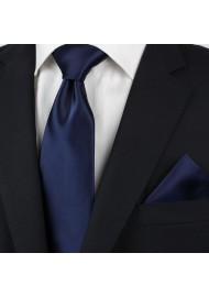 extra long satin finish tie in solid color in navy blue styled
