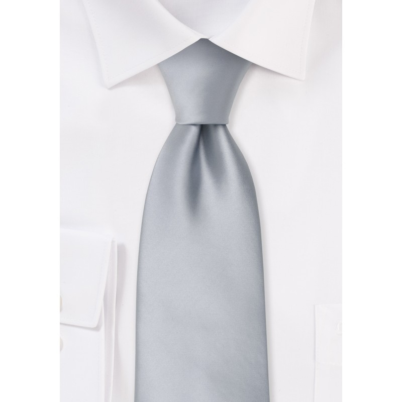 Formal neckties - Solid color silver necktie