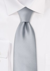 Extra long ties - Solid silver XL necktie