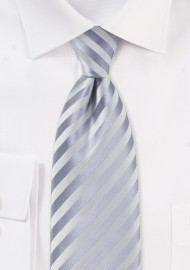 Festive Silver Necktie in Extra Long Length