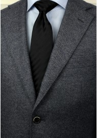 Extra long black tie - Stain resistant Microfiber necktie in solid black styled