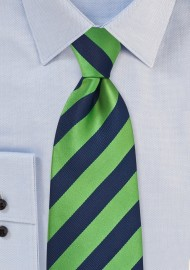 XL Navy and Green Striped Tie