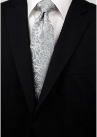 Silver Paisley Mens Tie Styled