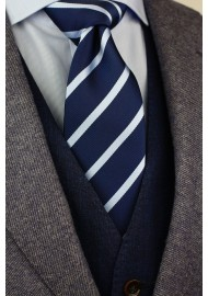 XL Tie in Navy and Light Blue Stripe Styled