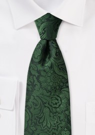 XL Length Paisley Tie in Forest Green