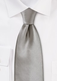 Solid Mercury Silver XL Length Tie