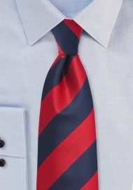 Repp Striped Tie in Red and Navy in XL