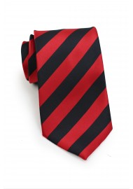 Red and Coal Black Striped Tie in XL Length