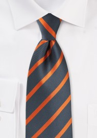 XL Tie in Gray with Bright Orange Stripes