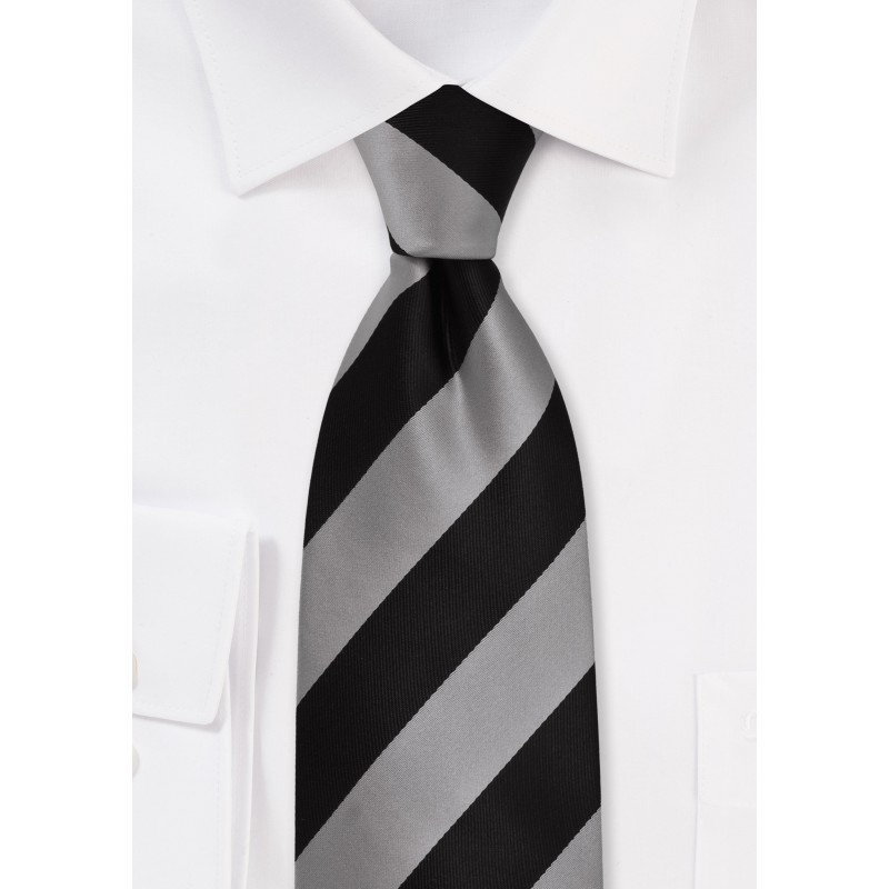 Striped Necktie in Gray and Black
