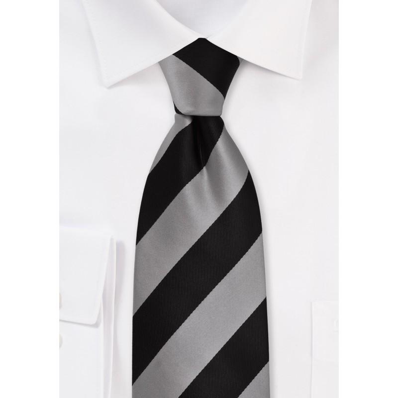 XL Striped Necktie in Gray and Black