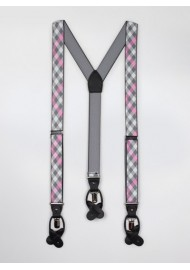 Plaid Suspenders in Pink and Gray