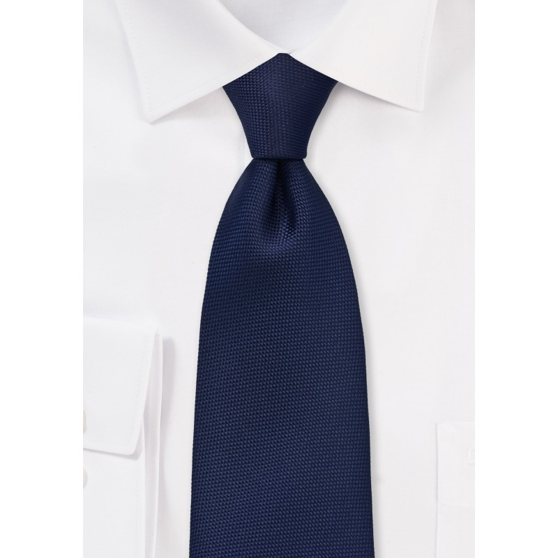 Diamond Embroidered Tie in Midnight Blue
