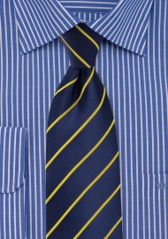 Dark Navy and Golden Tie in Extra Long