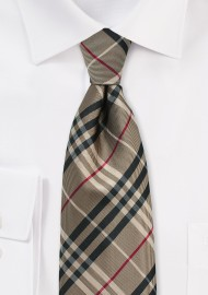 Golden Tan Tartan Tie iN XL