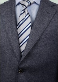 Preppy Gray Repp Striped Necktie Styled