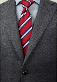 Repp Striped Tie in Red and Blue in XL Styled