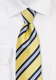 Yellow, Navy, and White Striped XL Length Tie
