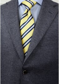 Yellow, Navy, and White Striped XL Length Tie Styled