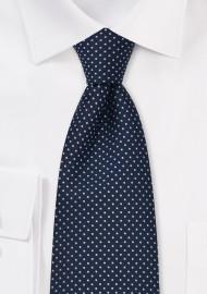 Sapphire Blue XL Length Polka Dot Tie