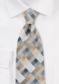 Kids Tie in Silvers and Taupes