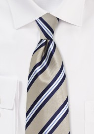 Beige and Navy Striped Tie
