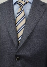 Repp Striped XL Length Tie in Beige and Navy Styled