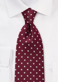 Burgundy and Silver Polka Dot Tie