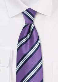 Lilac Repp Striped Necktie
