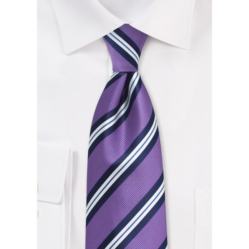 Purple Repp Striped Tie in XL Length