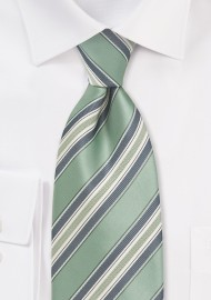 Striped XL Length Tie in Clover Green