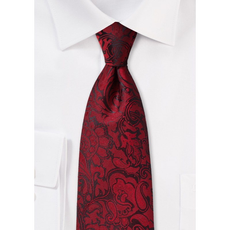Burgundy Paisley Tie for Kids