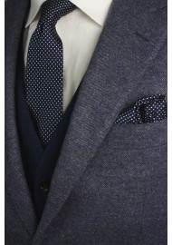 Dark Navy Skinny Tie with Silver Pin Dots Styled