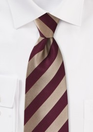 Striped Tie in Gold and Burgundy