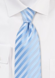 Solid Striped Kids Tie in Capri Blue