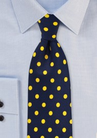 Navy Blue Tie with Lemon Yellow Polka Dots